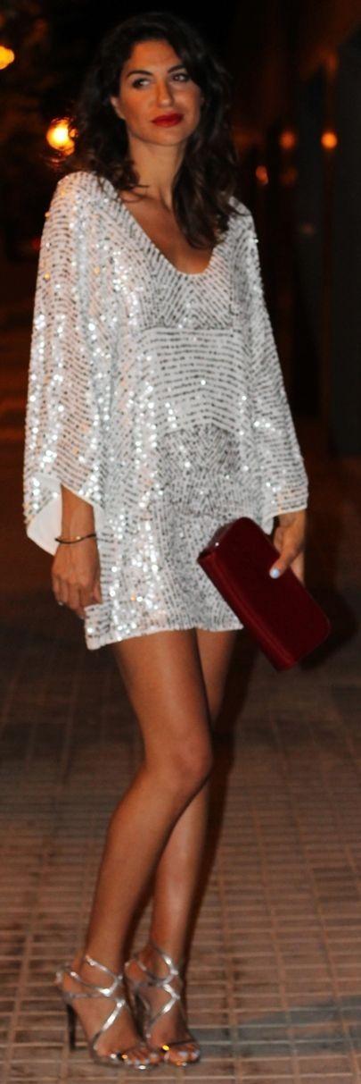 White Sequin V-neck  Mini Shift Dress