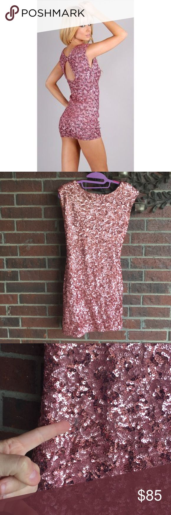 Alice + Olivia pink sequin Keyhole dress size M Such a fun dress! Size M with measurements of 17-19 in from underarm to underarm and 23 in from underarm going down the side length.   There is one very small area of sequins missing that I have taken a picture of.  It's definitely not that noticeable at all!  (1213vt) Alice + Olivia Dresses