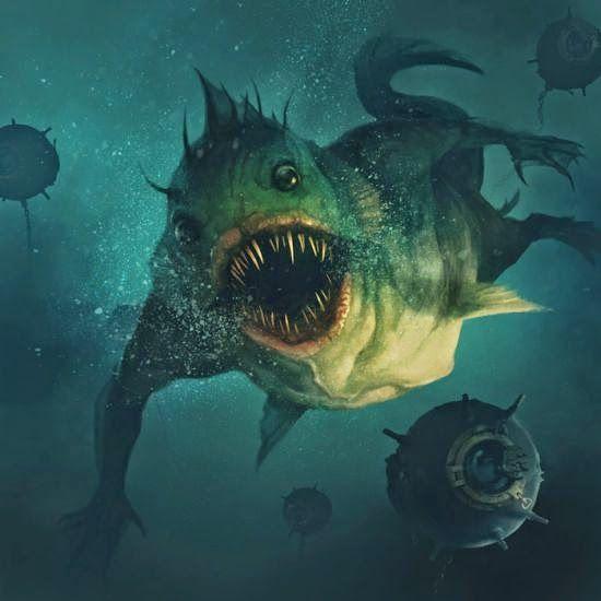 Borja Pindado deviantart ilustrações sombrias terror cósmico lovecraftiano HP Lovecraft mitos Cthulhu - Deep One