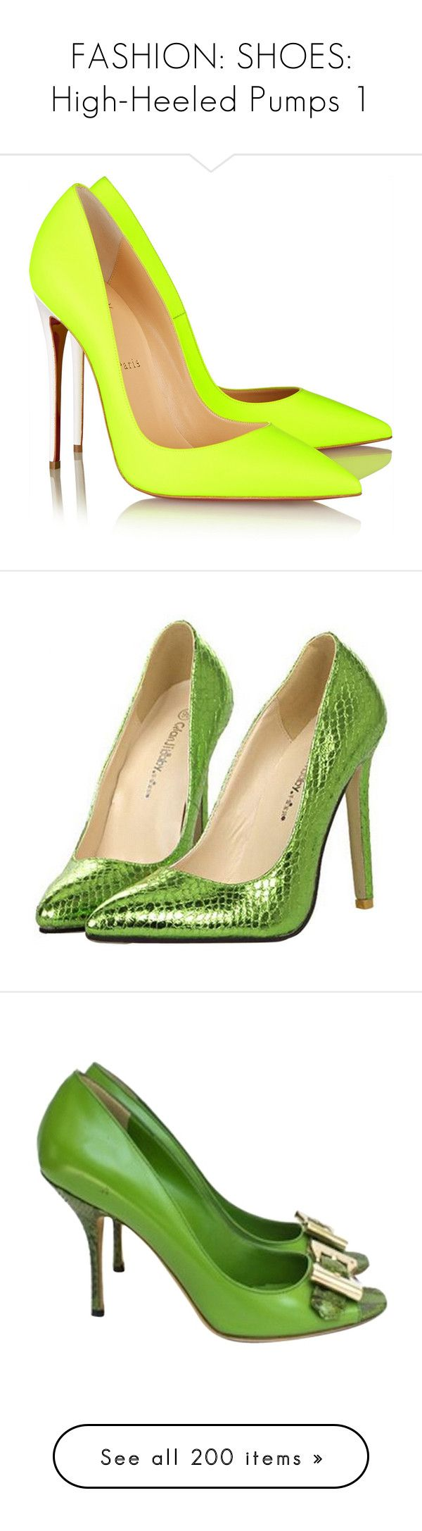 """""""FASHION: SHOES: High-Heeled Pumps 1"""" by eva-malecka ❤ liked on Polyvore featuring shoes, pumps, heels, christian louboutin, sapatos, neon pumps, christian louboutin shoes, leather shoes, neon heels pumps and christian louboutin pumps"""
