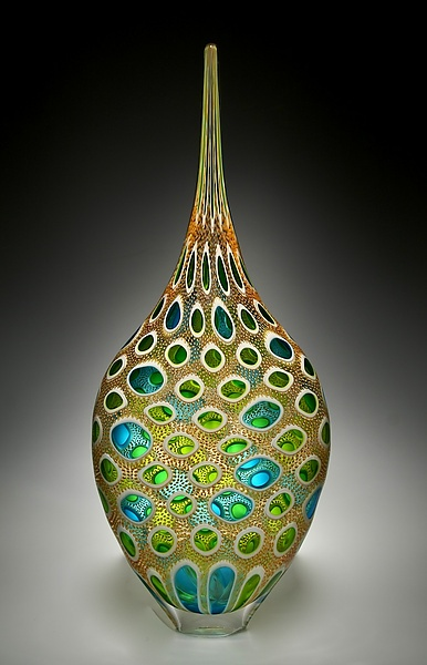"""Aqua and Lime Resistenza""  Art Glass Vessel    Created by David Patchen  One of a Kind at Artful Home"