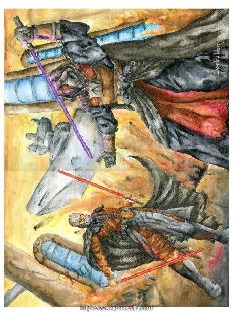 Watercolor: Darth Revan vs Darth Malak  Artwithdarkwarrior.blogspot.com