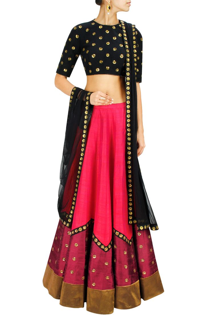 Pink and black sequin embroidered lehenga set BY PRIYAL PRAKASH.  Shop now at: www.perniaspopups... #perniaspopupshop #designer #stunning #fashion #style #beautiful #happyshopping #love #updates