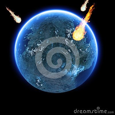 Computer generated image of meteorites with flames striking the earth on a black background