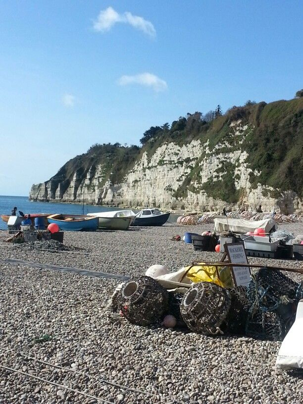 beach wedding south west uk%0A Working fishing boats on the pebble beach at Beer   South Devon   England