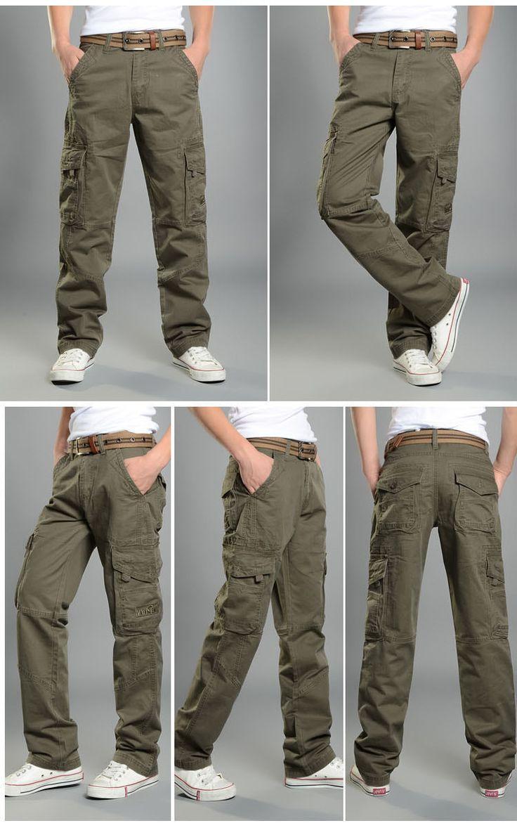 2015 новые акции мужчины брюки карго мужчина спортивные брюки армейские брюки хлопок холст камуфляж на открытом воздухе бегунов нескольких карман брюк купить на AliExpress