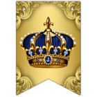 Royal Blue Gold Prince Crown Baby Shower Bunting Flags
