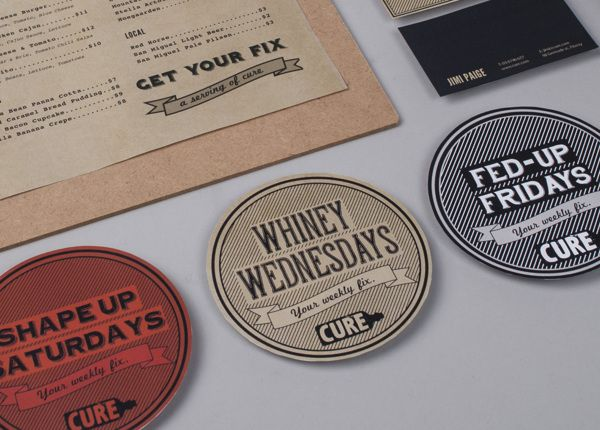 "Bea de Jesus   |   http://behance.net/beadejesus ""Created branding and identity for a bar called ""Cure"", including logo design, business car..."
