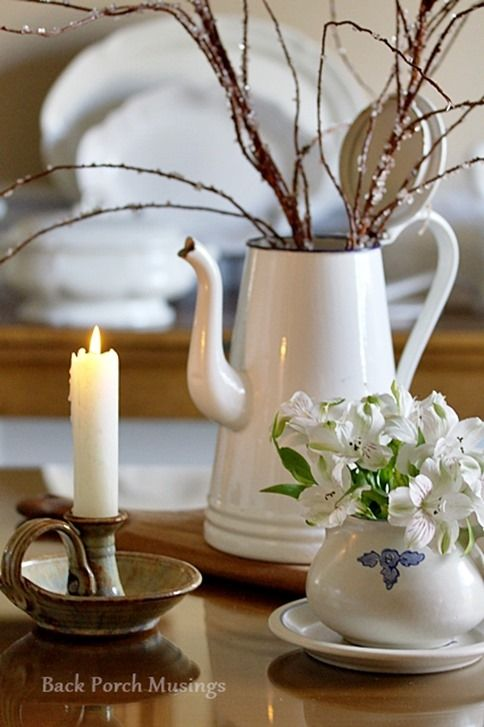Yorktowne pottery styled by Back Porch Musings.