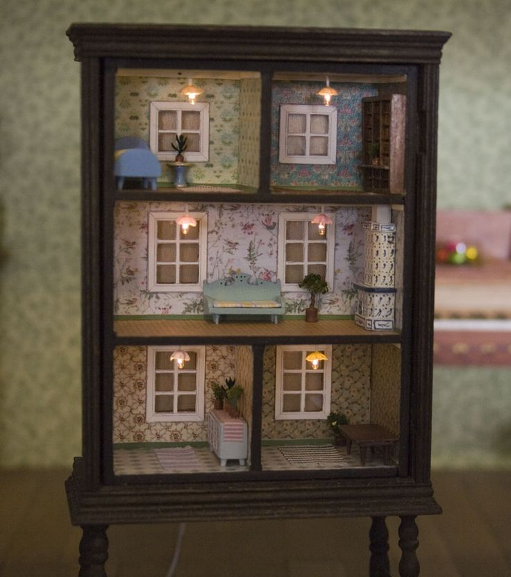 Chest of drawers turned into dollhouse.