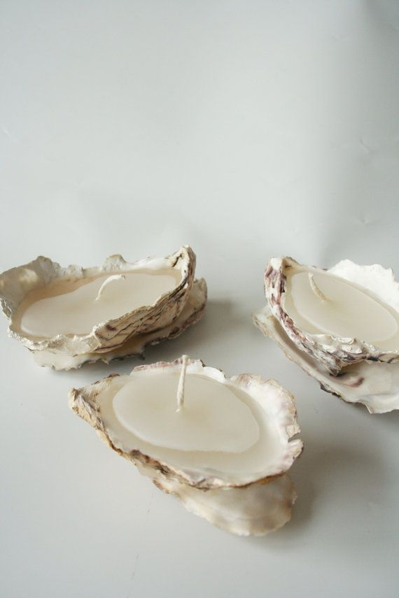 Set of Three Oyster Shell Candle from Etsy seller Hanselandpetal. We might be able to make something similar to these in any scent/color combo                                                                                                                                                                                 Plus