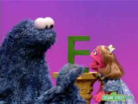sesame street letter e sesame letter e with prairie and cookie 51821