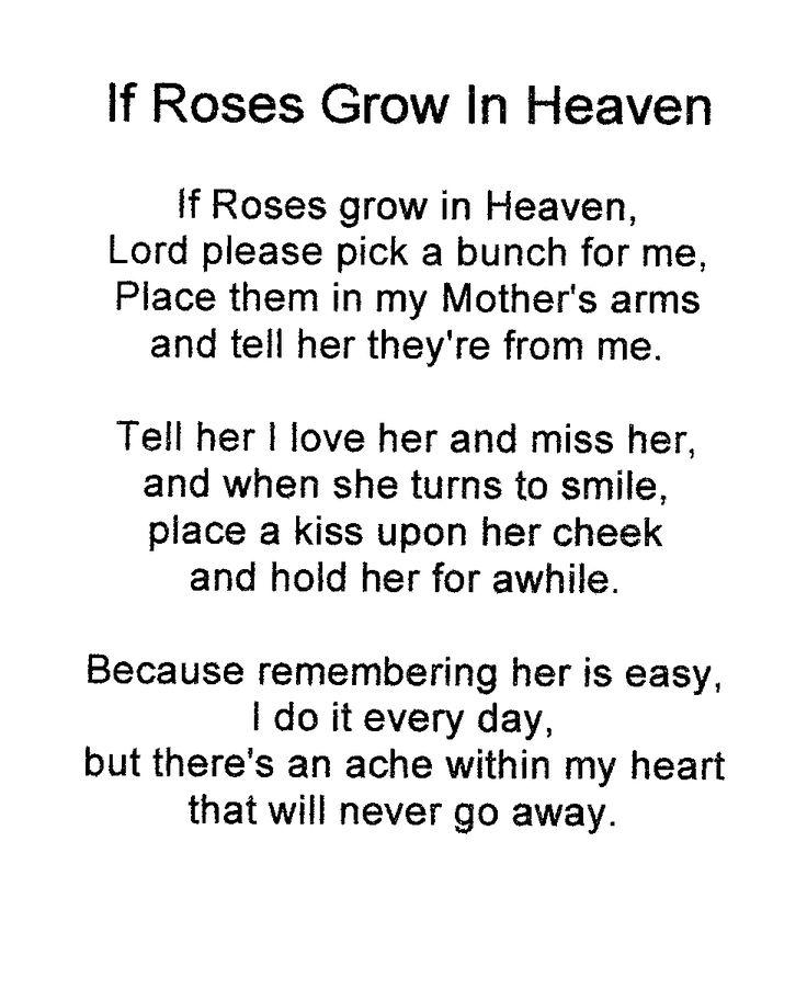 Angel In Heaven Poems If Roses Grow In Heaven Kirsten