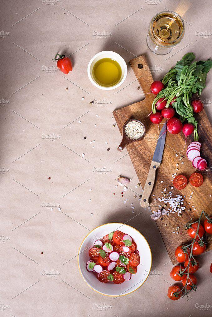 Salad ingredients. Healthy cooking by Iuliia Leonova on @creativemarket