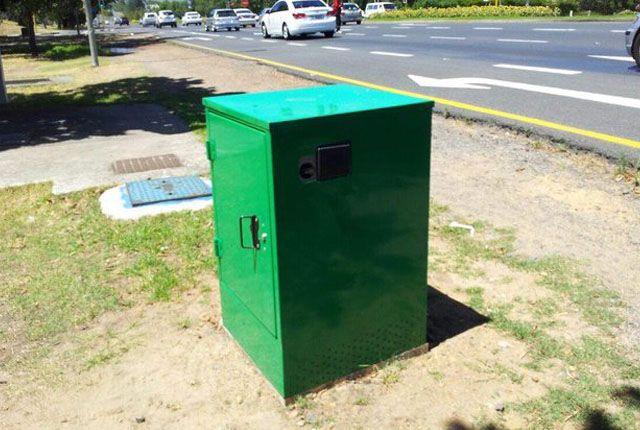 Green speed camera box