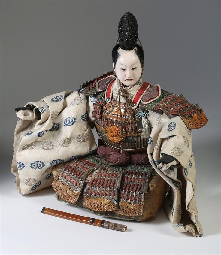 1 of 21 : Japanese Seated Musha Ningyo, Samurai of Minamoto Yoshitsune, Edo Period, c.1850 FR3SH