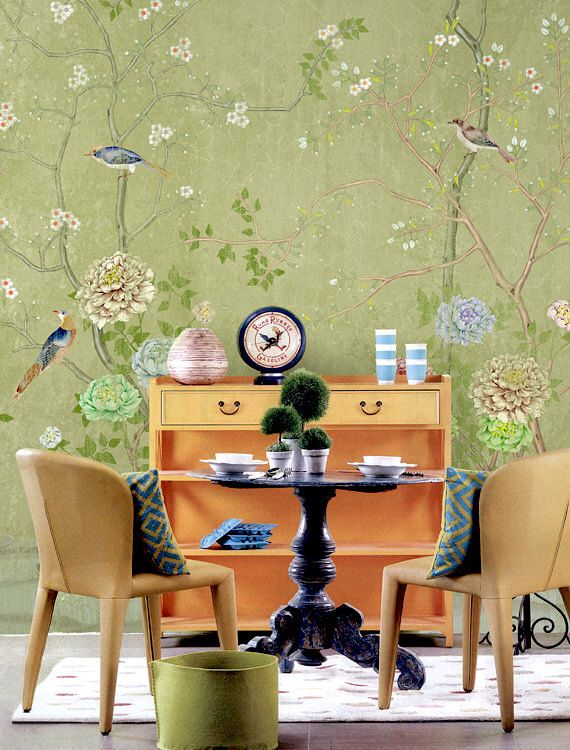 Chinoiserie Wallpaper Flowering Branch Exotic Birds Peony Trees Wall Mural Traditional Chinese Painting Asian Vintage Retro Olive Green by DreamyWall on Etsy https://www.etsy.com/listing/465816453/chinoiserie-wallpaper-flowering-branch