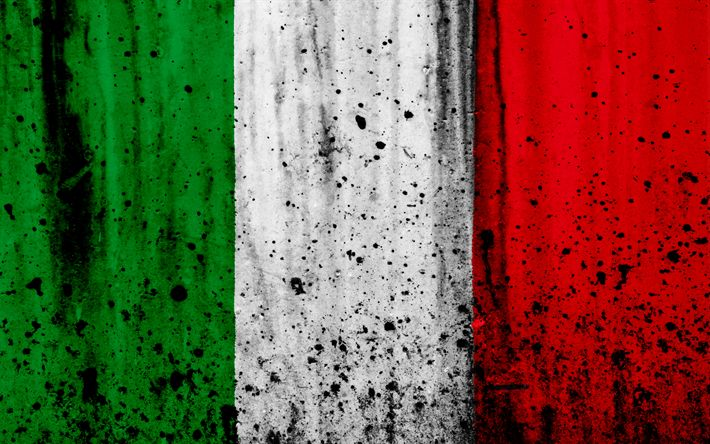 Download wallpapers flag of Italy, 4k, grunge, stone texture, Italian flag, Europe, Italy, national symbols, Italy national flag