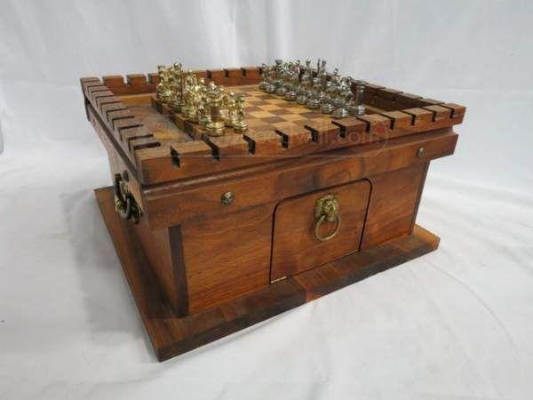 Shopgoodwill.com: Monopoulos Greco Roman Portable Wooden Chess Set
