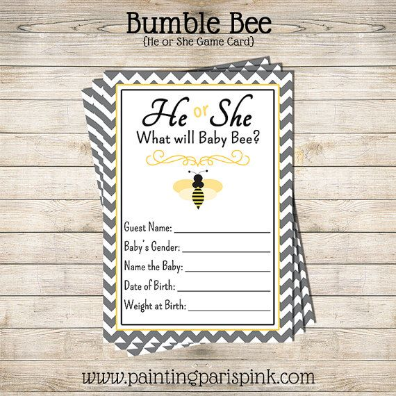 He Or She Bumble Bee Baby Shower Game By PaintingParisPink