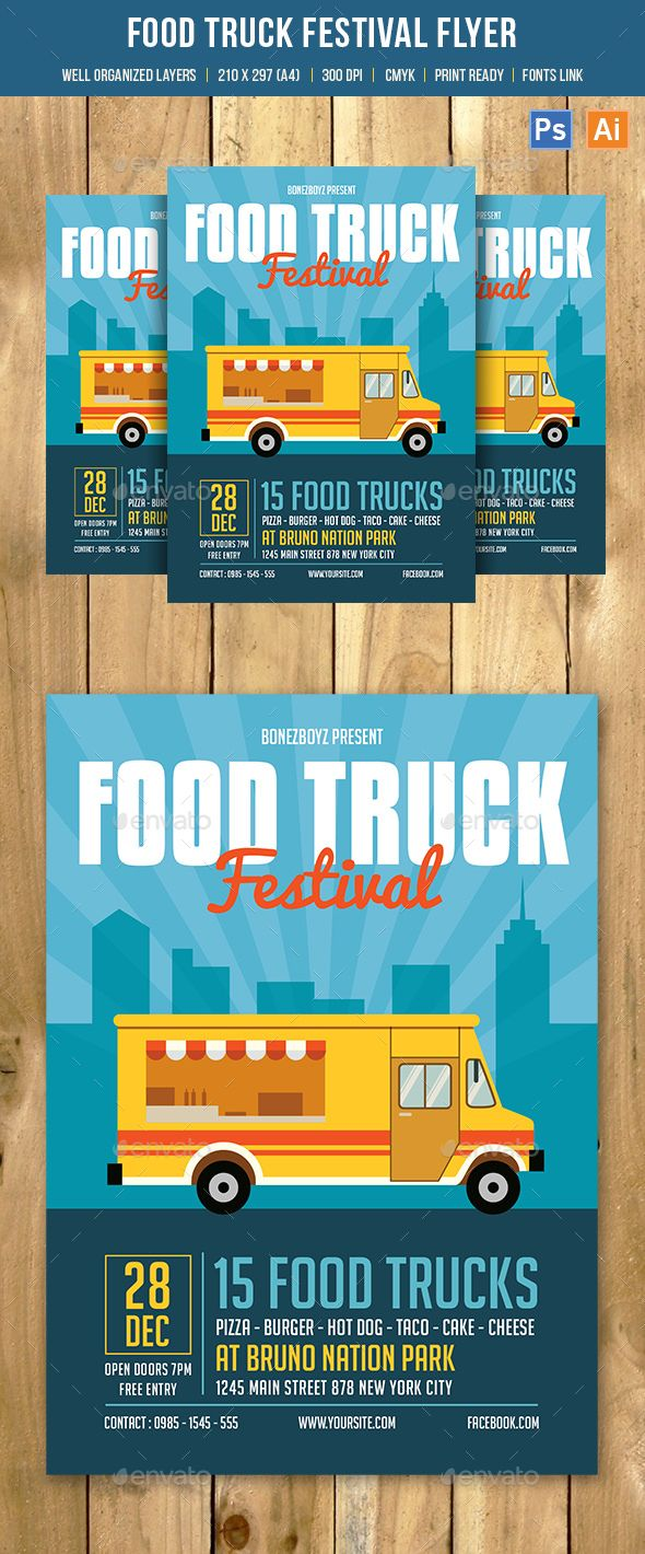 Food Truck Festival Flyer Template PSD, AI Illustrator. Download here: http://graphicriver.net/item/food-truck-festival-flyer/16401624?ref=ksioks