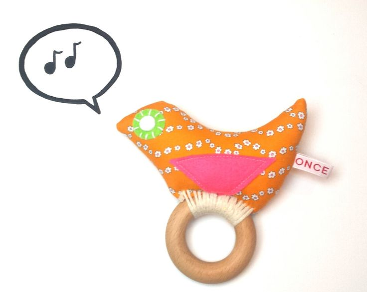 Baby rattle- baby teether-BIRDY rattle/teether- baby by ONCEIWAS on Etsy