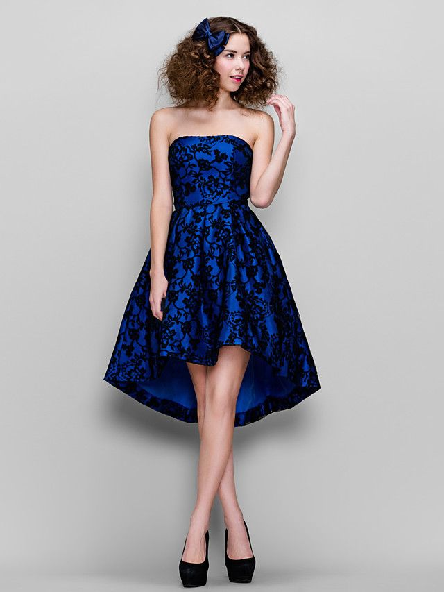 Prom / Company Party Dress - Royal Blue Plus Sizes / Petite A-line Strapless Asymmetrical Lace - USD $ 99.99
