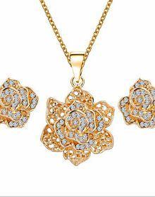 Lucky Doll Womens All Matching Luxury Gem Rose Gold Plated Zirconia Flower Necklace Earrings Jewelry Sets 220x280 What to wear to a Christening