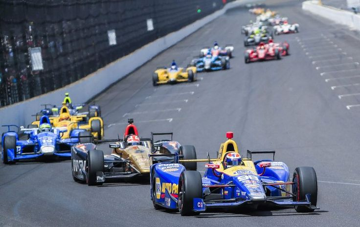 Alexander Rossi Wins the 100th Indianapolis 500.  Rossi leading James Hinchcliffe on Sunday. Rossi's car ran out of fuel moments after he crossed the finish line as the winner.