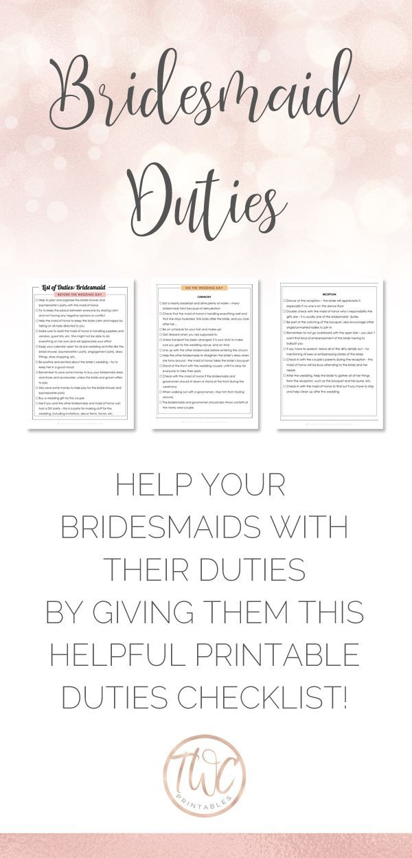 Printable list of duties bridesmaid wedding planner to for For planner