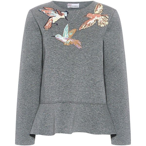 Red Valentino - Hummingbird Embroidery Sweatshirt found on Polyvore featuring tops, hoodies, sweatshirts, sweaters, shirts, sweatshirt, blusas, peplum sweatshirt, red valentino top and peplum tops