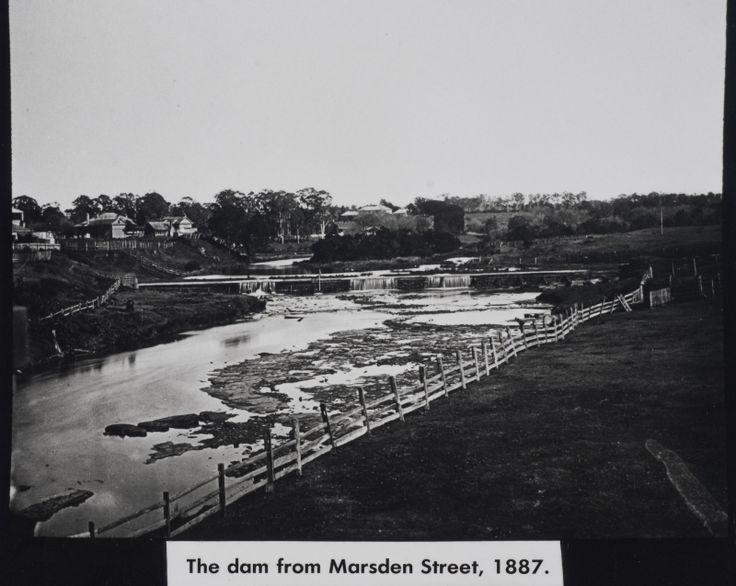 Marsden Street Weir on the Parramatta River viewed from Church Street, circa 1880 LSP00326