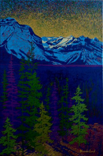 """Rocky Mountain Sunset # 2"" by Artist Rhonda Lund 24 x 36"" Acrylic on Canvas; Staple back 2014 'a cool but highlighted Rockies night"