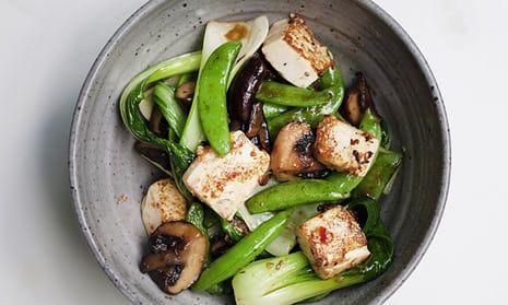 Marinated tofu stir-fry in a ceramic bowl£24 o
