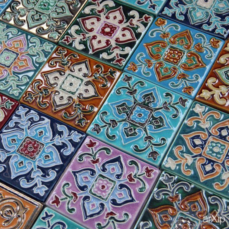 Фото керамическая плитка ручной работы - товары, восточный, марокканский стиль, плитка интерьерная, дизайнерская, узор, полоски, квадратик, ...
