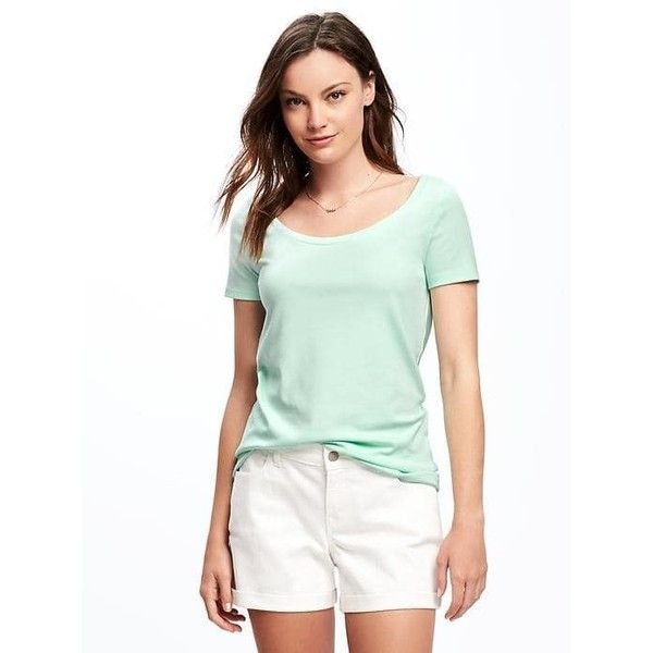 Old Navy Womens Classic Semi Fitted Tee ($7.97) ❤ liked on Polyvore featuring tops, t-shirts, green, petite, green jersey, jersey t shirt, green tee, white tee and petite tops