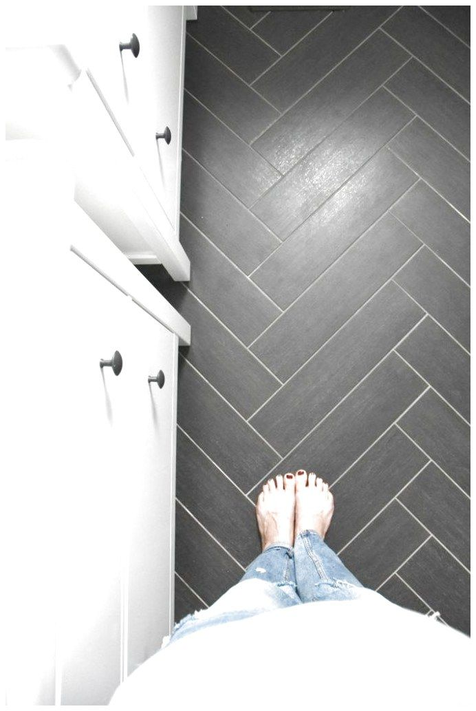 Clic Gray White And Black Bathroom With Herringbone Tile Floors Home Decor On A Budget Copy This Design Click Through For Sources