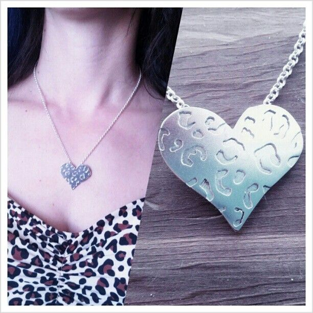 This silver leopard print heart necklace was a donation to the the Gore Gore Rollergirls party!