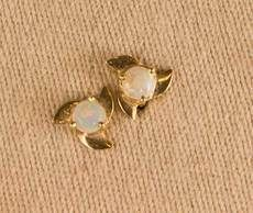 Solid Crystal Opal Gold Flower Stud earrings