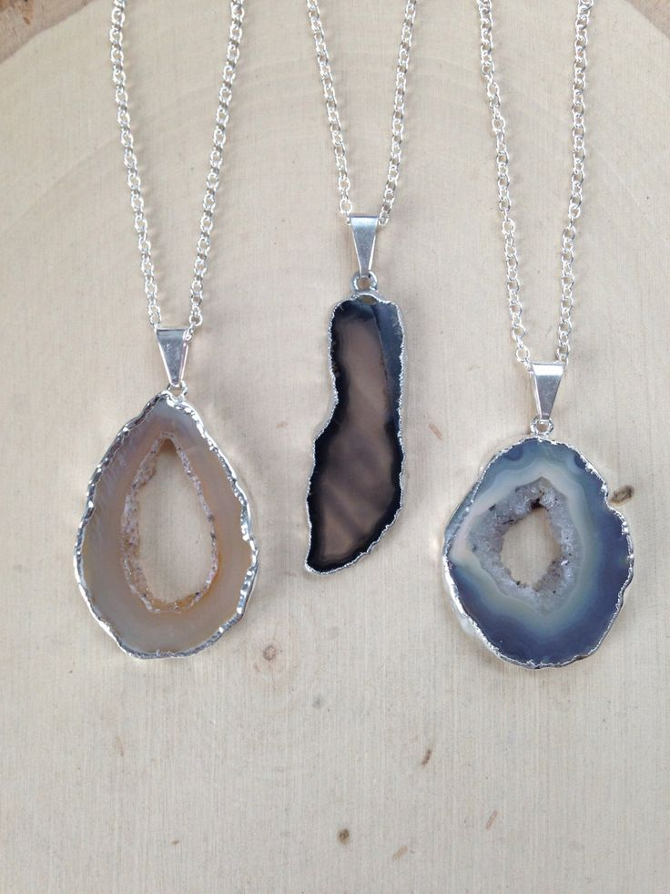 Geode Necklace on Sterling Silver Chain / Geode Necklace / Geode Slice / Geode Jewelry / Raw Geode / Geode Slice Pendant / Geode Crystal by MalieCreations on Etsy