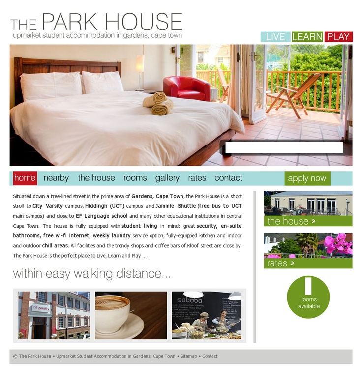 Website design for The Park House in Cape Town. http://www.theparkhouse.co.za