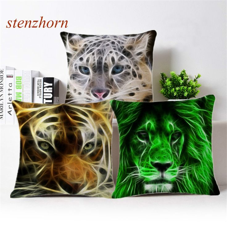 Scandinavian Fashion 3d Lion Tiger Mandala Decoration Cushions Square Square Cotton Linen Pillow Office Sofa Chair Pillows Mat #Affiliate
