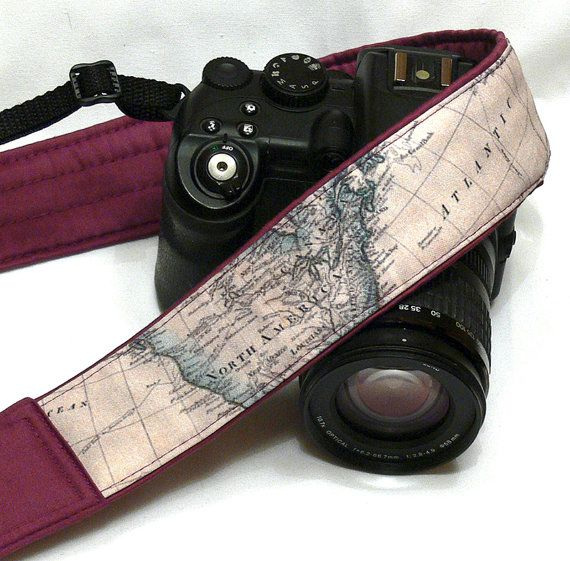 World Map Camera Strap. More camera straps here  https://www.etsy.com/shop/LiVeCameraStraps?  Beautiful, stylish camera strap for dSLR / SLR body style cameras with focus on durability, strength and comfort. Adjustable features for preferred positioning either around your neck or across your body  Available this camera strap with lens pocket also. Please see the third and fourth photos. You can select option with pocket in drop down menu.  Measurements: Total length - 60 inches / 152 cm…
