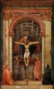 La Trinidad es un fresco realizado por Masaccio entre los años 1425 y 1428, es de estilo cristiano. El dogma de la Trinidad significa o afirma que Dios es un ser único y en él existen 3 personas distintas: padre, hijo y espiritu santo. Por el significado tan importante para el cristianismo lo incluyo en mi sala del renacimiento