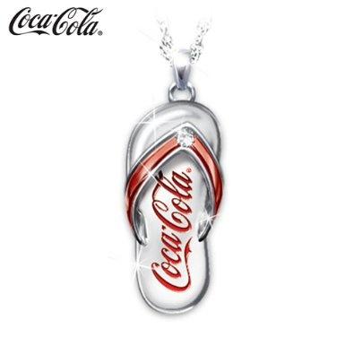 Coca-Cola Diamond Flip Flop Engraved Pendant Necklace #jewelry