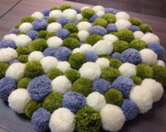 Pom pom rug by jellyfishfish on Etsy