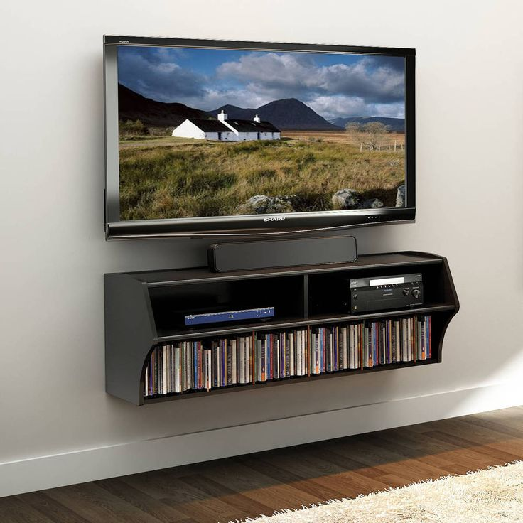Media Storage TV Stand Wall Mounted Console Entertainment Center 2-Shelves Black #Prepac #Contemporary