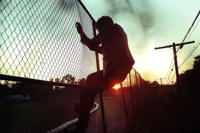 Climbing at dusk