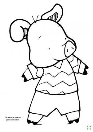 Раскраски для детей Герои сказки Три поросенка