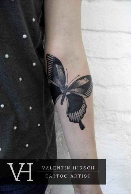 beautiful and great placement butterfly by valentin hirsch #tattoos
